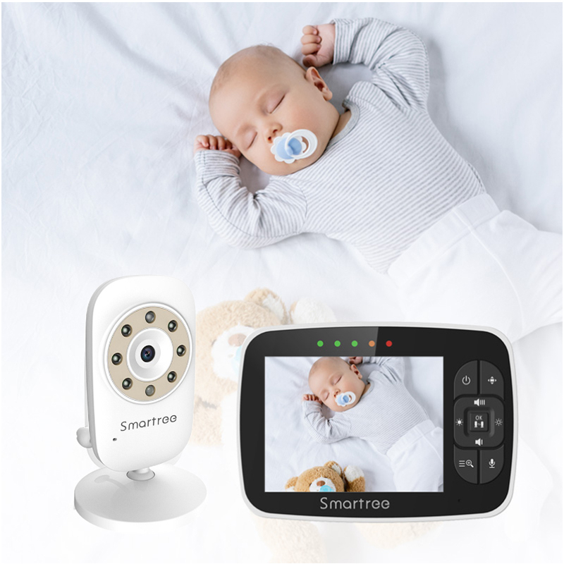 Newest Wireless White 3.5 Inch LCD Baby Monitor 900ft Operating Range Video Pan and Tilt Mini Baby monitor For Infant Safety