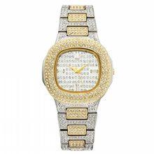 MISSFOX, женские шикарные часы, женские часы, багет, бриллиант, 18 К, золото, Патек, Женские Аналоговые кварцевые наручные часы в стиле хип-хоп со л...(Китай)
