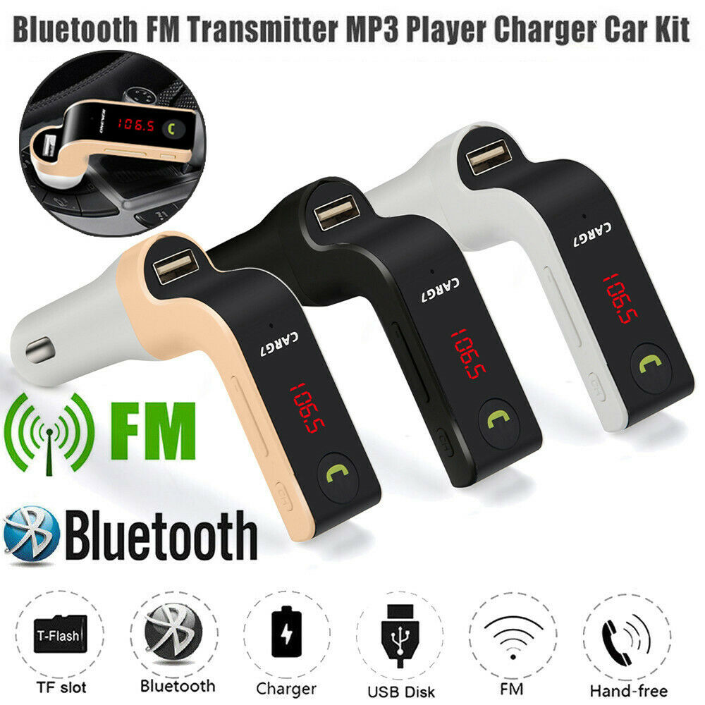 2020 amazon hot G7 car bluetooth fm transmitter auto kit lcd display wireless radio AUX charger USB SD Hands Free mp3 player