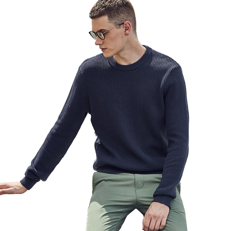 Men 100% Cotton High Quality Knitted Sweater Custom Crewneck Jumper OEM Casual Style Sweater for men