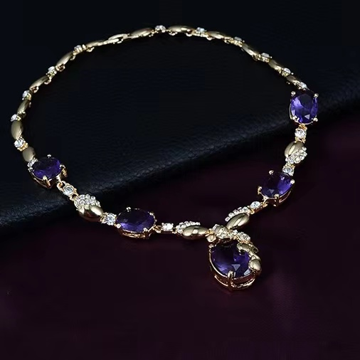 2021 Hot sells 4 piece high quality gemstone gold plating earrings necklace ring bracelet jewelry set