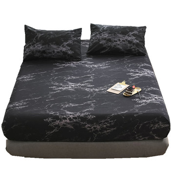 The latest in 2020 black marble bed sheet marble pillowcase fitted sheet