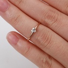 Simple Korean Style Minimalist Gold Plated Brass Jewelry Heart Shape CZ Diamond Statement Ring KBR014