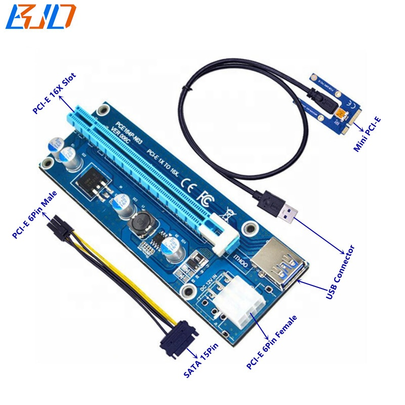 PCI Express PCI-E 16X to Mini PCIe Mpcie Riser Adapter Card GPU Miner Ethereum Mining for Video Card Mining 60CM USB Cable