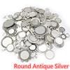 Round Antique Silver
