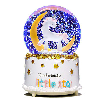 Customized unicorn SnowBall Christmas Snow Globe with Santa Claus Elk Crystal SnowBall friends gifts