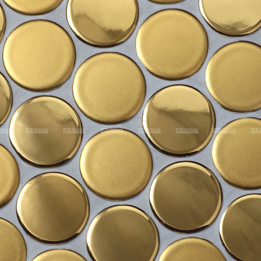 Factory Direct Supply Hotel Project 19mm Cookies Circle Mosaic Gold Ceramic Tiles For Kitchen Backsplash