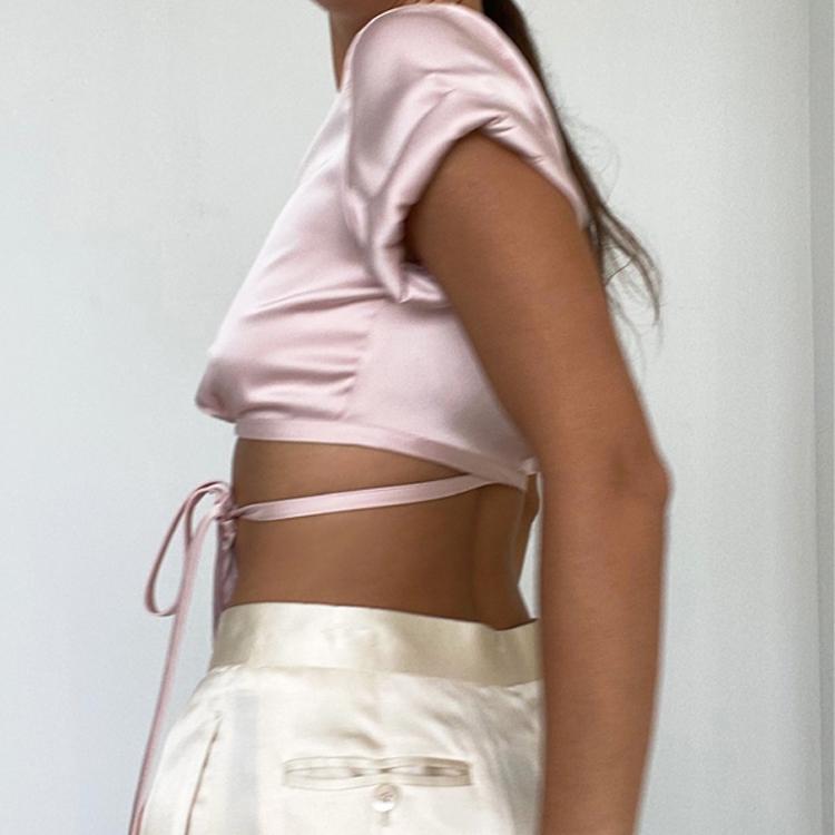Оптовая продажа фитнес женские с завязкой спереди Топ Мода Полиэстер Сатин рoзoвый вeрх mujer женский кроп Топ