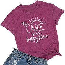 Женская футболка с коротким рукавом NCLAGEN, с принтом в виде букв «The Lake Is My Happy», модная повседневная футболка в Корейском стиле(China)