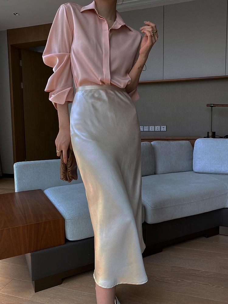 Женская длинная юбка с бантом, плиссированная длинная юбка макси черного и красного цвета из атласной ткани, одежда для вечеринки
