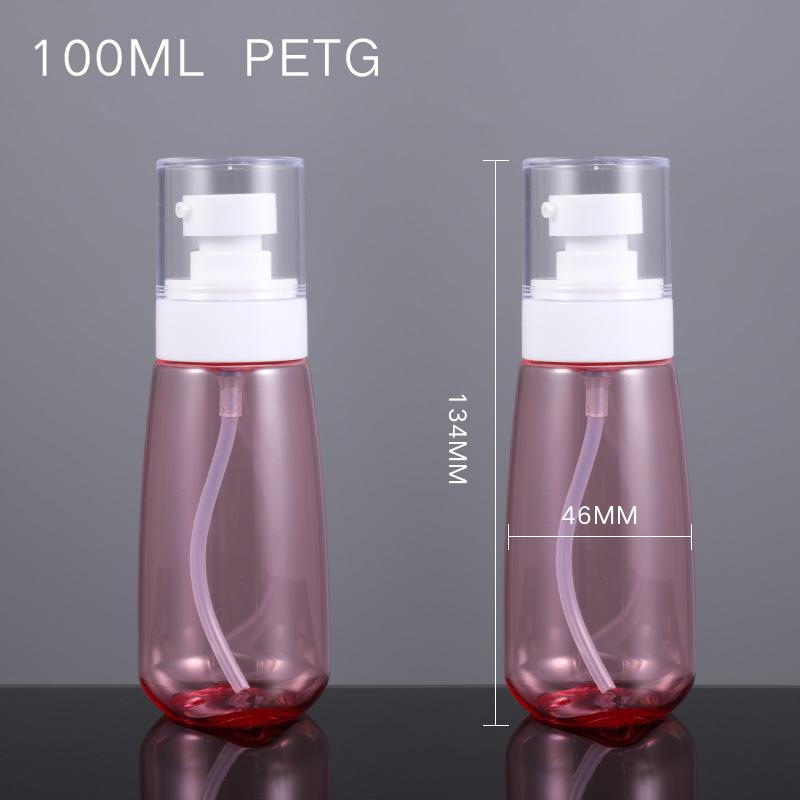 Оптовая продажа, Круглый безвоздушный пустой прозрачный пластиковый флакон с распылителем для масла для лица 100 мл, 100 мл, контейнер с насосом для шампуня, лосьона