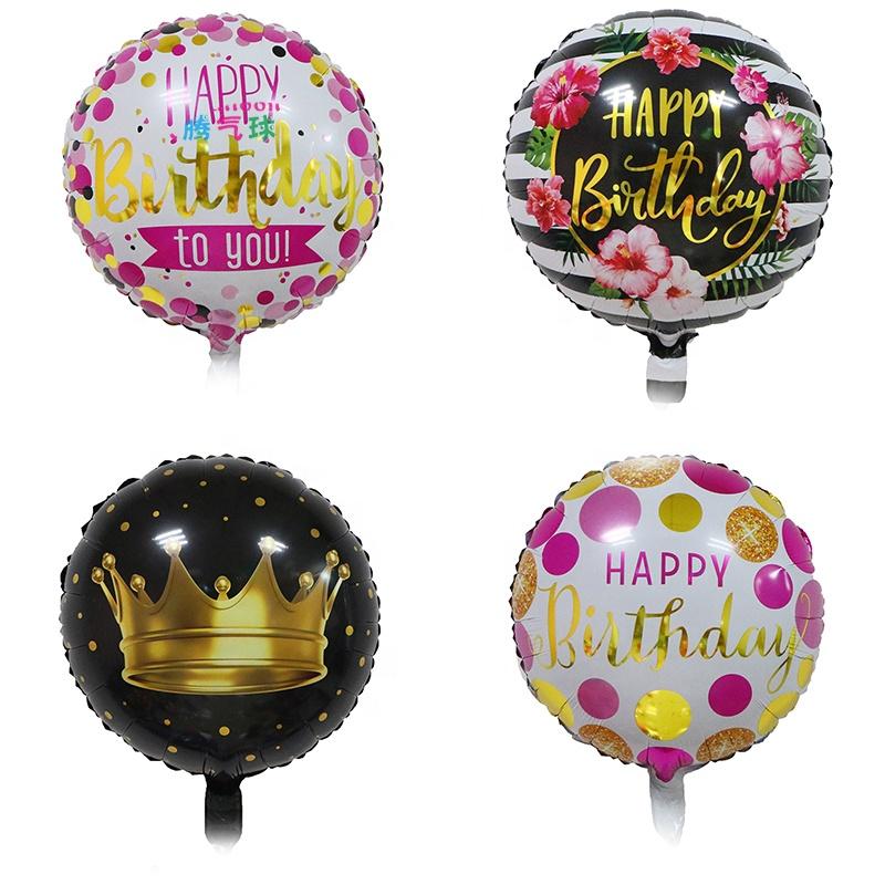 Оптовая продажа 18 дюймов изготовленный на заказ Печать Золотая фольга горячего тиснения С Днем Рождения Круглый вечеринки воздушный шарик из фольги в форме