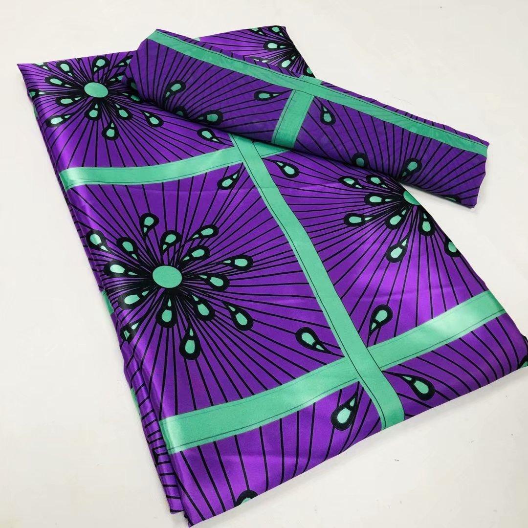 Wholesale satin printed fabric satin chiffon fabric 4+2yards satin polyester fabric