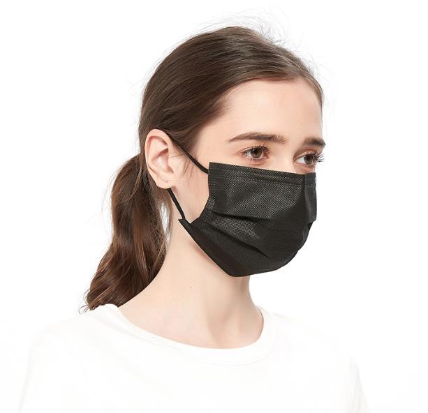 manufacturer 50pcs Box disposable black 3 ply face mask breathable Earloop custom Disposable Black Face Mask