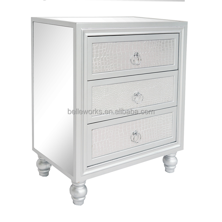 Nordic Light Luxury Crocodile Skin Bedside Table Mirrored Night Stand Chest Of Drawer