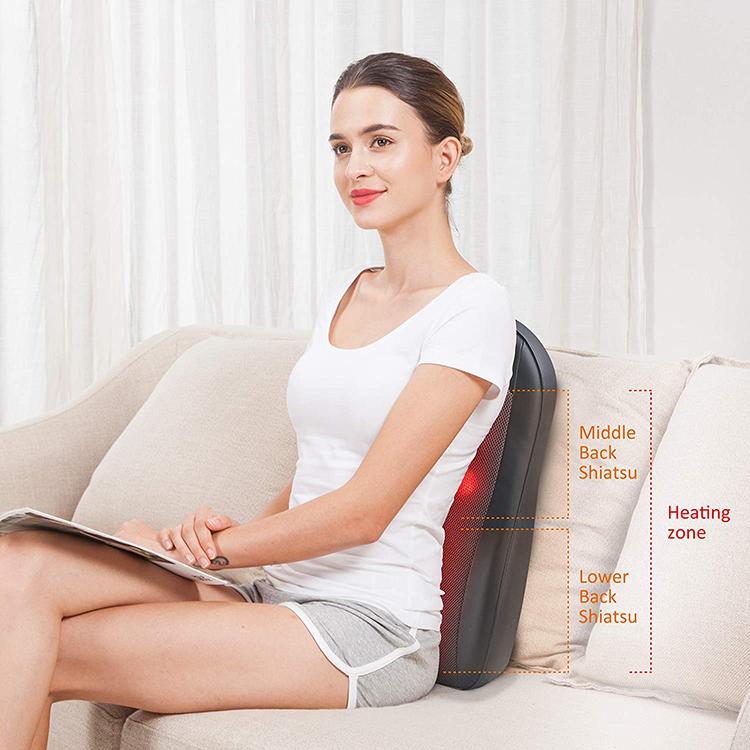 Home Cordless Shiatsu Back Massager with Heat Portable Kneading Massage Cushion