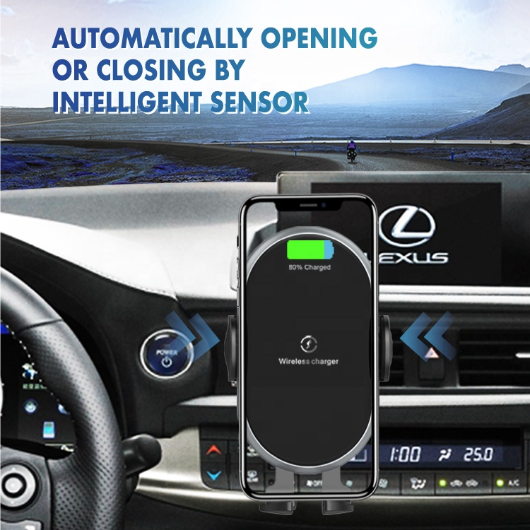 mylion 2020 smart phone fast 10w intelligent sensor wireless car charger with cell phone mount holder