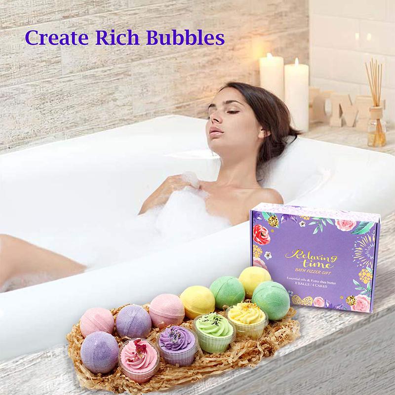 Beauty Custom Colorful Skin Care Vegan Sweet cupcake fizzy bath bombs Set