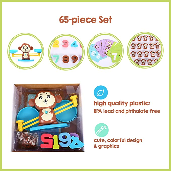Fun Educational Children Gift & Kid Game Balance Toy STEM Learning Ages 5+ Monkey Balance Cool Math Game for Girls & Boys