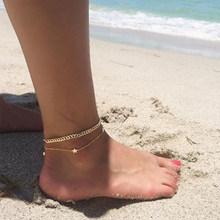 Новинка 2020, женские модные кубинские браслеты на ногу, ювелирные изделия из сплава в богемном стиле, пляжный Золотой анклет, оптовая продажа...(Китай)