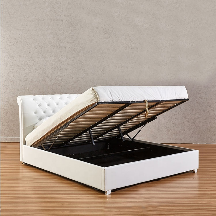 Modern Queen King size gas lift bed frame white high quality comfortable soft mattress PU bed
