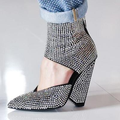 Женские сандалии с кристаллами; ботинки с острым носком; сандалии на высоком каблуке со стразами; сезон лето; коллекция 2020 года; прозрачная о...(Китай)
