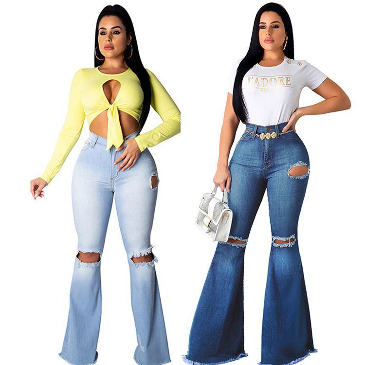 Pantalones Vaqueros Ajustados De Cintura Alta Elasticos Con Agujero Roto En La Rodilla Para Mujer Ropa Sexy A La Moda Gran Oferta Buy Venta Caliente 2020 Nuevo Estilo Sexy Moda Mujer Usar Rodilla