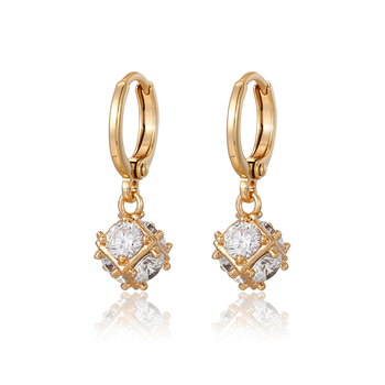 90072 Xuping 18K gold earrings, big diamond crystal hoop earring, 18K Gold Plated fashion earrings for women