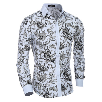 2020 Fashion Men Luxury Casual Autumn Long Sleeve Dress Shirt Slim Fit Floral Top