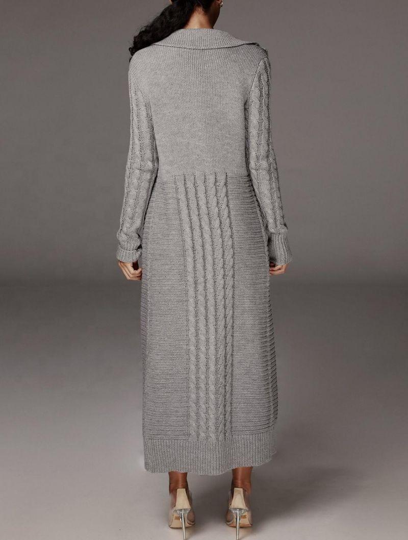 Tong Sheng Intarsia Jacquard Knit Women Cardigan Sweater Skirt Elastic Autumn Winter Warm Cable Knit Cardigan Skirt For Women