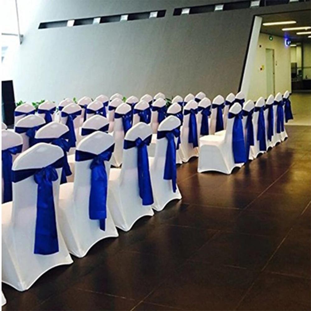 Недорогой атласный Королевский синий свадебный стул с поясом и лентой, украшение для стула для вечеринки, x 16 см, оптовая продажа