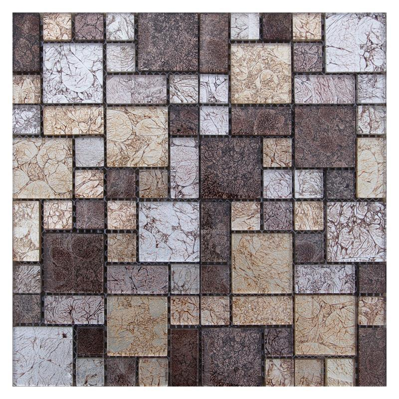 Green Brick Electroplated Crystal Glass Mosaic Tile