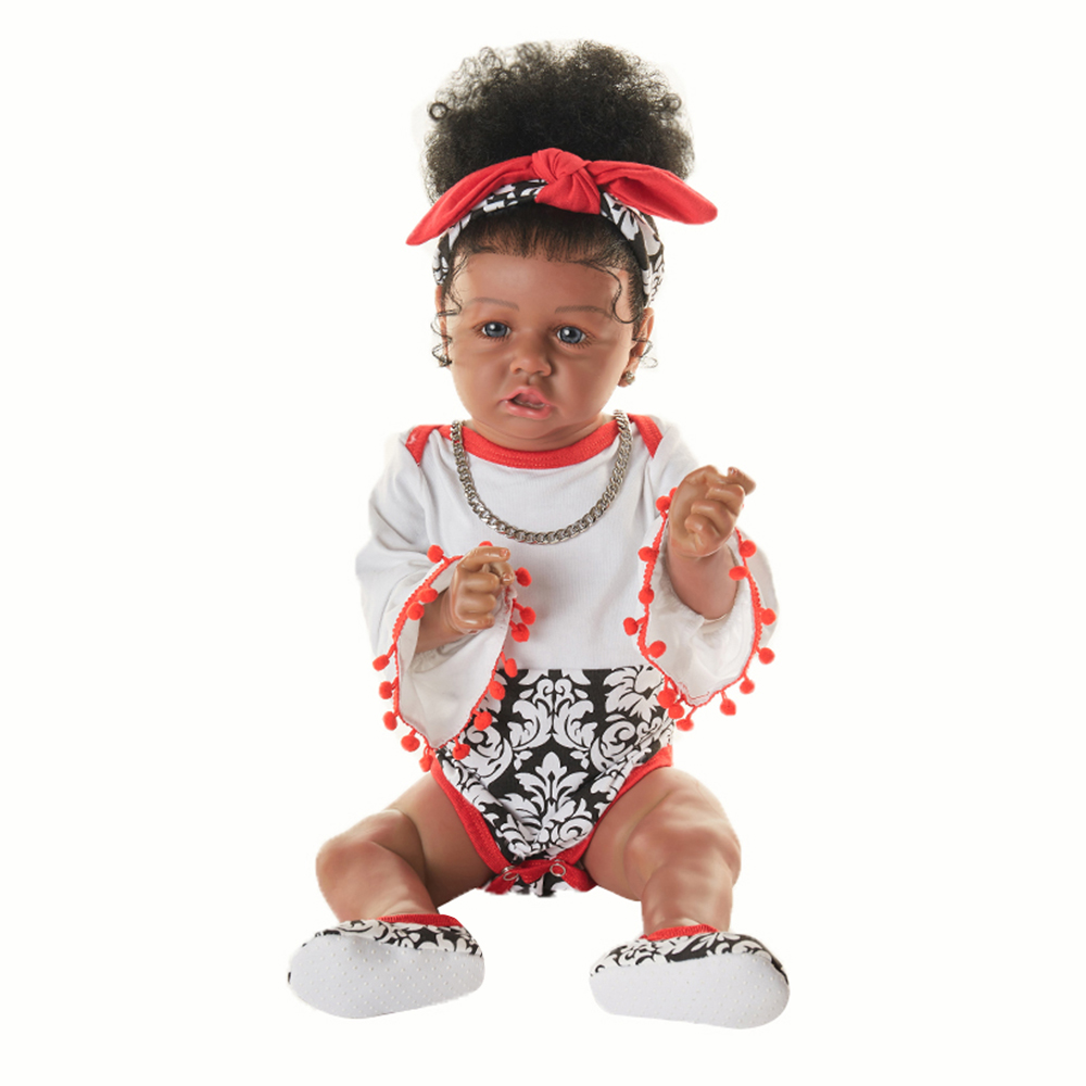 Curly Hair Black Doll African 23 inch Girls Dolls Lifelike Baby Toys Dolls For Children