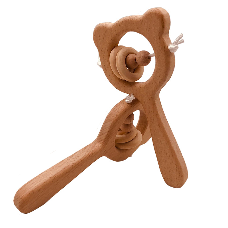 New design rattles for kids BPA free safe wooden rattle baby toys eco-friendly wooden baby rattle