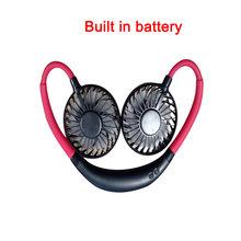 Мини USB портативный вентилятор шейный платок с перезаряжаемой батареей маленький настольный вентилятор Ручной Кондиционер(Китай)