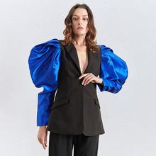 Женский лоскутный пиджак TWOTWINSTYLE, бежевый блейзер с длинными рукавами-фонариками и рюшами, осень 2020(Китай)