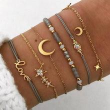 Европейские и американские ювелирные изделия ручной работы, новый модный браслет с Луной и пятиконечной звездой, костюм из шести предметов,...(Китай)