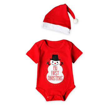 Christmas short sleeved snowman pattern one-piece toddler wear romper clothes newborn baby christmas romper