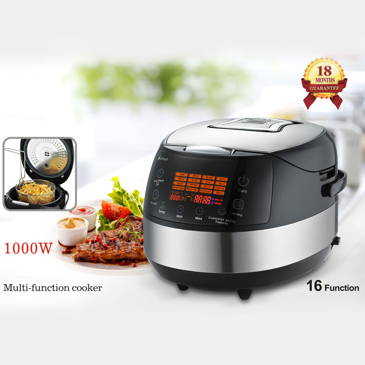 Home Multifunctional 860W Large Capacity 5L Multi Electric Rice Cooker With LCD Display