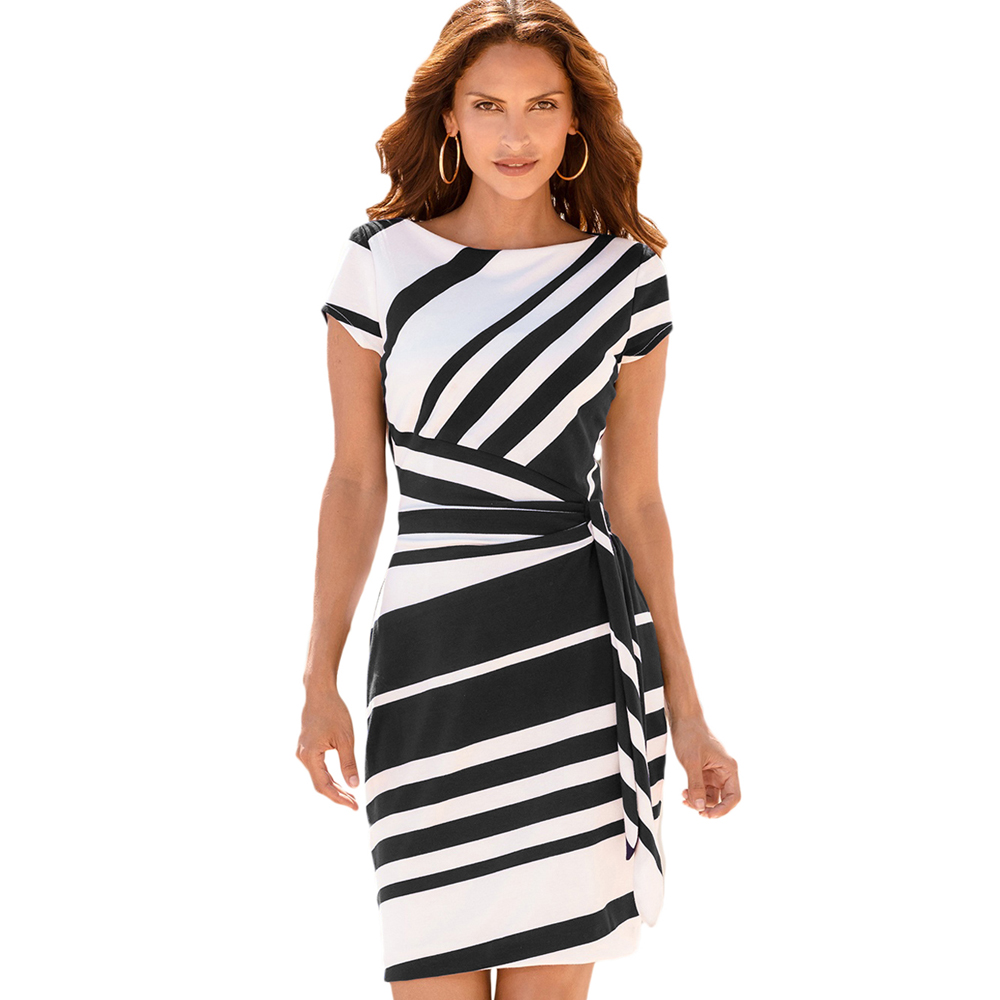 Summer Women Black White Striped Office Formal Work Dress - Buy Women Work  Dress,Bodycon Midi Dresses,Midi Dresses Women Product on Alibaba.com
