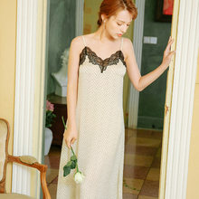 Сексуальная сорочка на бретельках, ночная рубашка, элегантная Летняя женская домашняя одежда, ночное платье, длинное кружевное белье, ночно...(Китай)