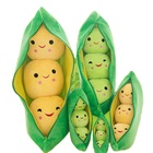 25 CM Cute Plush Pods Pea Shape Stuffed Plant Doll 3 Beans with Cloth Case Creative doll