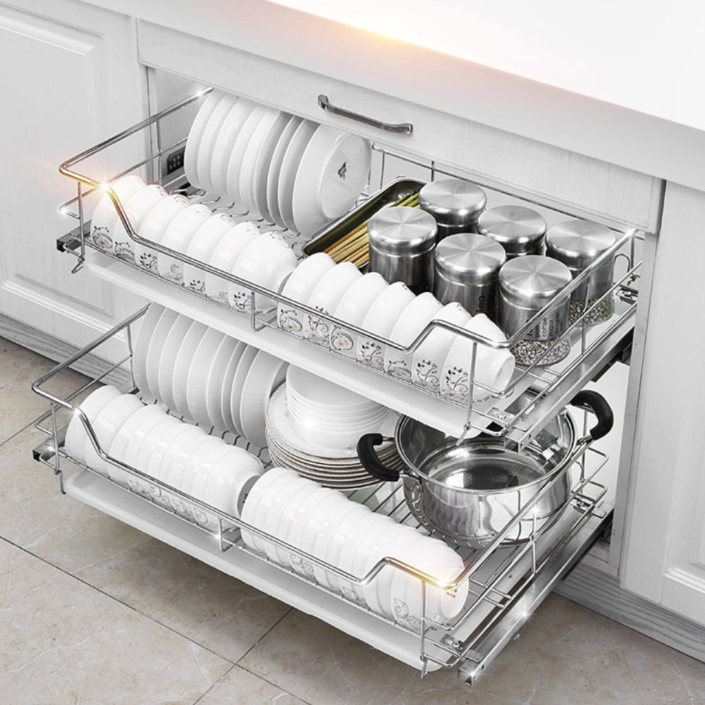 2 Layer Pull Out Basket Kitchen Cabinet Drying Cupboard 304 Stainless Steel Dish Rack Wtb 029 Buy Pullout Basket Stainless Steel Wire Basket Pull Out Kitchen Dish Basket Product On Alibaba Com