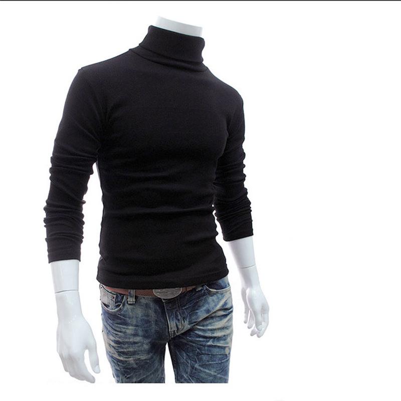 Custom logo Mens Long Sleeve Plain High Collar Sweater Pullover Turtleneck Sweater for Men