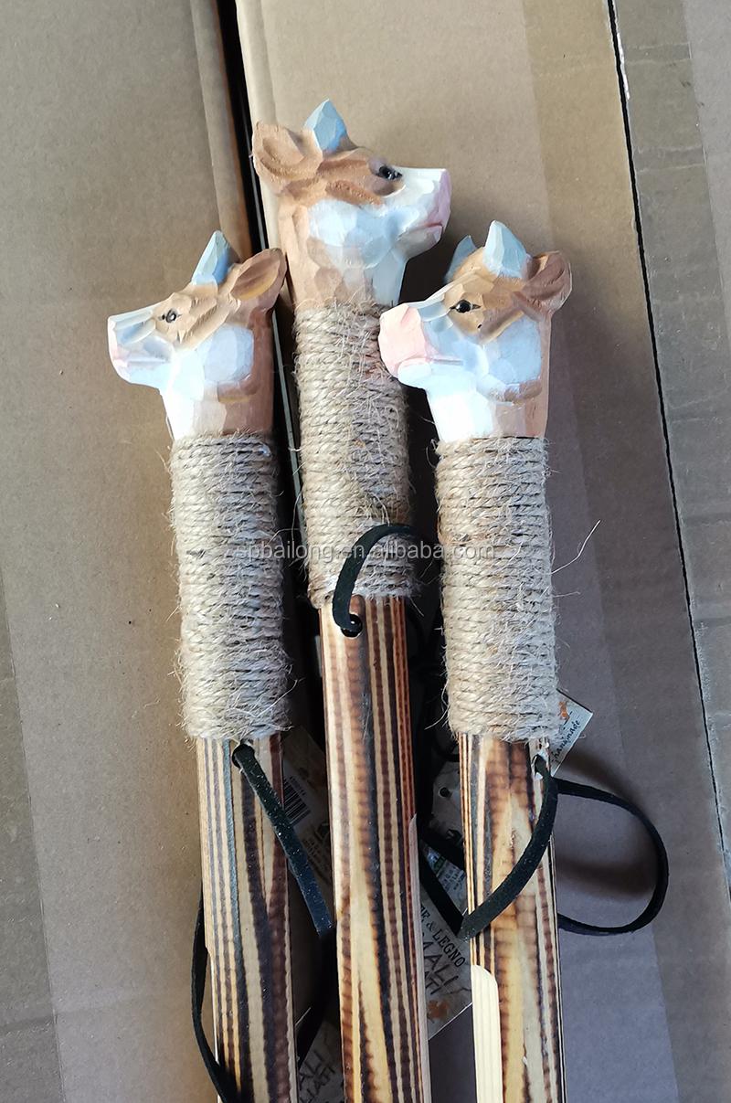 Wholesale 122cm carved trekking pole wooden animal walking sticks