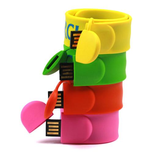 Personalized USB Flash Drive Silicone 8G 16G Slap Bracelet Pen Drive Wristband USB Flash Memory - USBSKY | USBSKY.NET