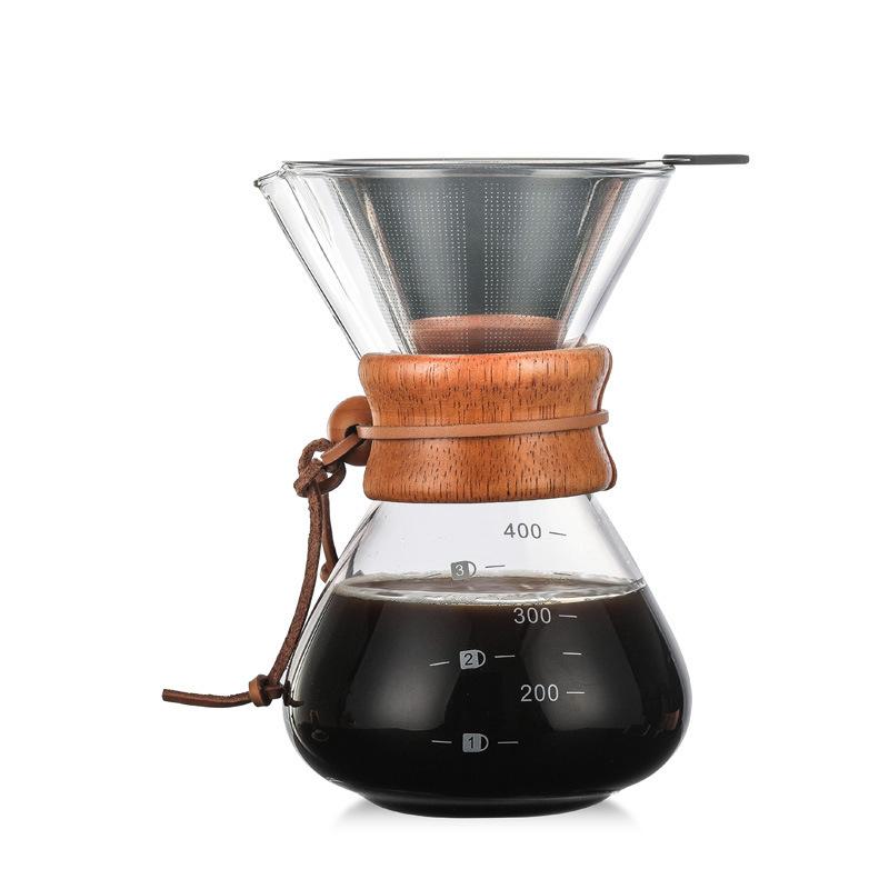 Стеклянные кофейники, термостойкая Классическая кофеварка, Налейте на нее, Кофеварка из нержавеющей стали, фильтр для кофе, капельный горшо...(Китай)