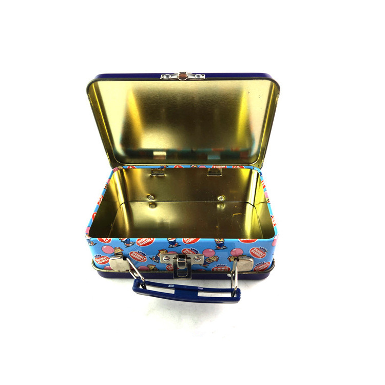 Wholesales cartoon printed lunch storage metal tin box,rectangular shaped handle gift tin case with lock