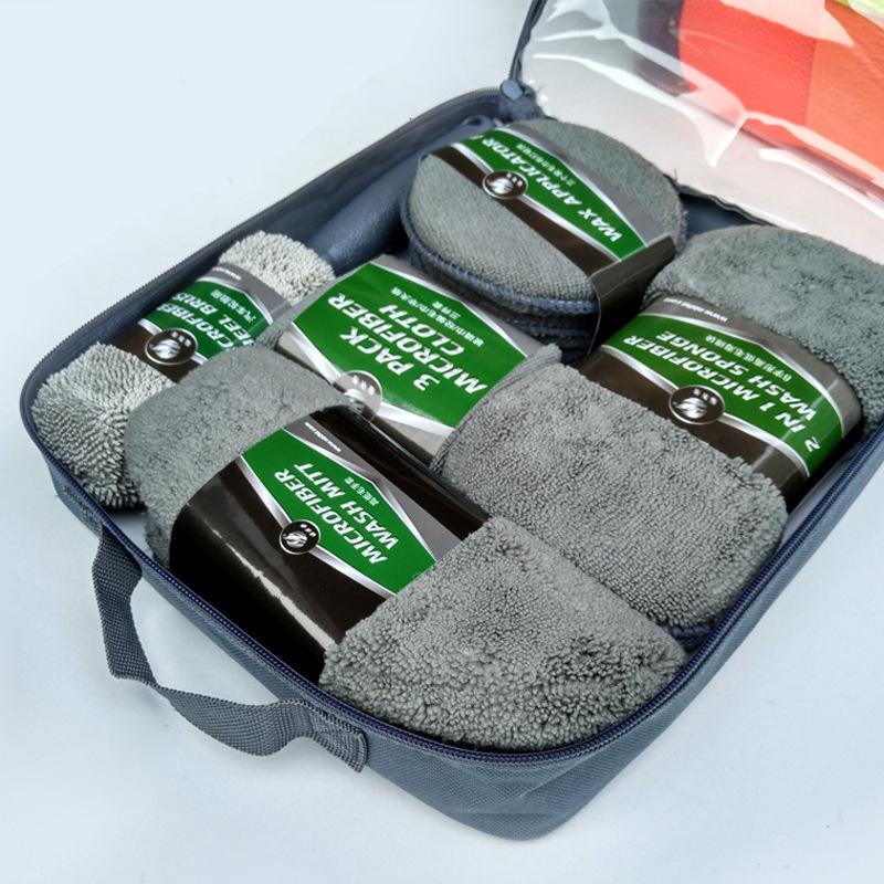 Microfiber Sponge Pad Car Wash Cleaning 9 In 1 Car Care Tools Kit Portable