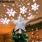 OurWarm 3D Glitter Star LED Christmas Tree Topper with Built-in Rotating White Snowflake Projector Laser Christmas Tree Ornament